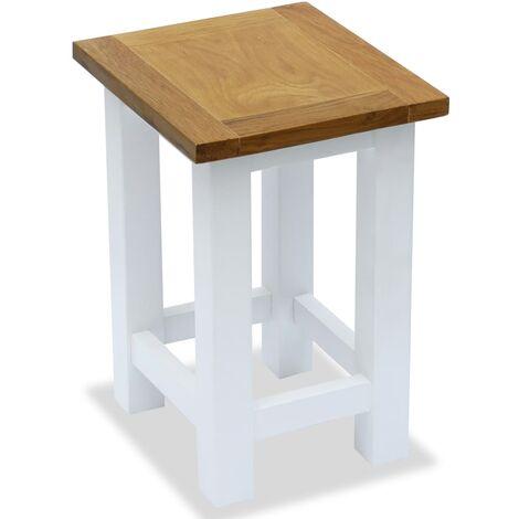End Table 27x24x37 cm Solid Oak Wood - White
