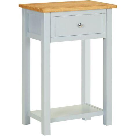 End Table 50x32x75 cm Solid Oak Wood - Grey