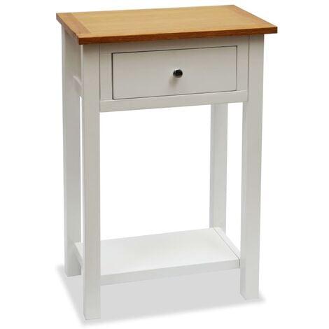 End Table 50x32x75 cm Solid Oak Wood - White
