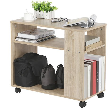 End Table End of Canape Library on Wheels Wooden Side Table 70 * 35 * 61CM