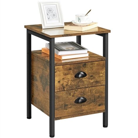 End Table Nightstand Side Table with 2 Drawers and Open Shelf, for Small Space, Wood Console Sofa Table with Metal Frame, for Living Room/Bedroom/Hallway, 40x40x61cm, Rustic Brown
