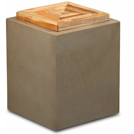 End Table Reclaimed Teak and Concrete 35x35x45 cm