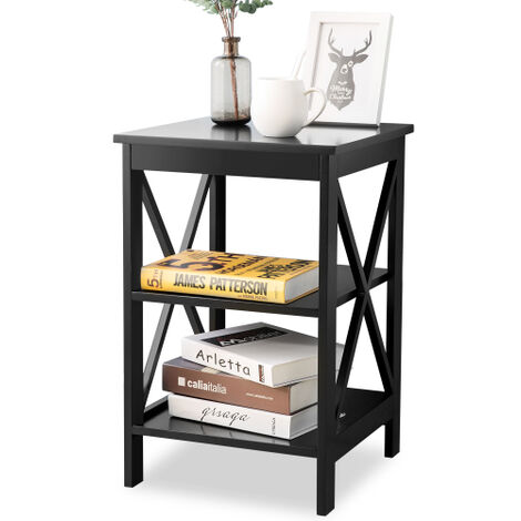 End Table Side Table Sofa Side Table Storage Shelves with 3 Tiers Bedside table For Living Room Bedroom Kitchen Any Room