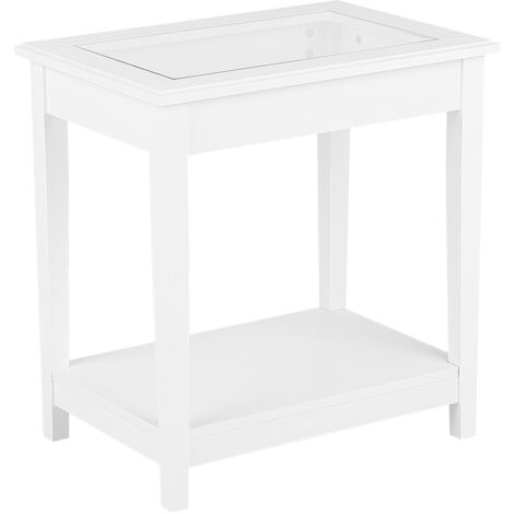 End Table with Glass Top White ATTU