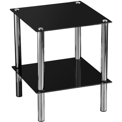 End Table,2 Tier Black Glass,Chrome Finish Legs