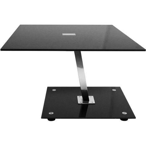 End table,black tempered glass top,chrome finish leg