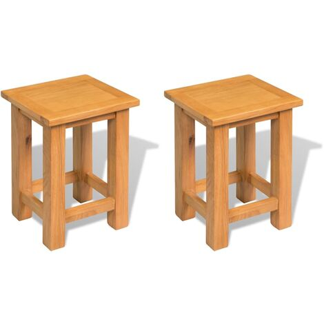 End Tables 2 pcs 27x24x37 cm Solid Oak Wood - Brown