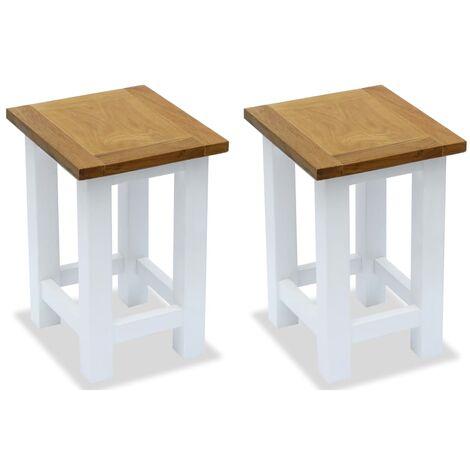End Tables 2 pcs 27x24x37 cm Solid Oak Wood - White