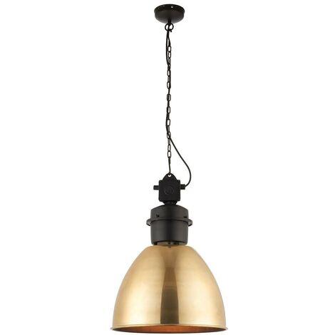 Endon - 1 Light Dome Ceiling Pendant Antique Brass, Matt Black, E27