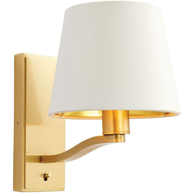 Image of 1 Light Indoor Wall Light Satin Brushed Gold, Vintage White Faux Silk, E14 - Endon Lighting