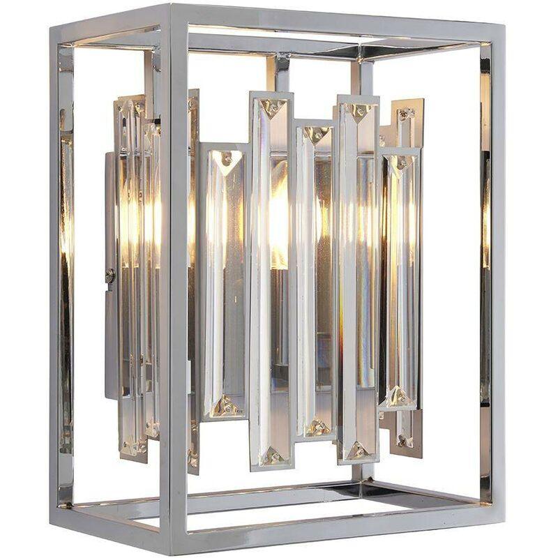 Image of Endon Acadia - 1 Light Wall Light Chrome Plate & Clear Crystal Glass, E14 - ENDON DIRECTORY LIGHTING