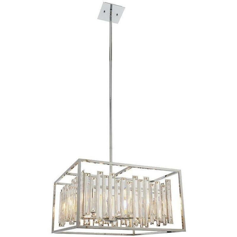 Image of Endon Acadia - 6 Light Ceiling Pendant Chrome Plate & Clear Crystal Glass, E14 - ENDON DIRECTORY LIGHTING