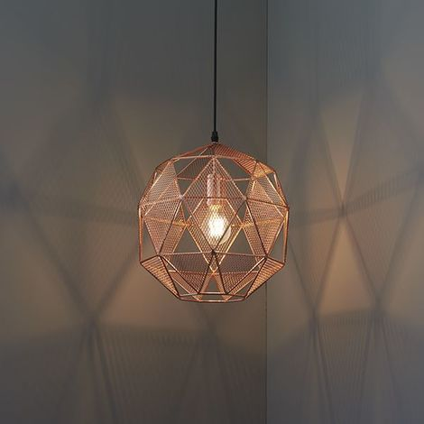Armour Copper Effect Plate Metal Ceiling Pendant Light Fitting Vintage Style