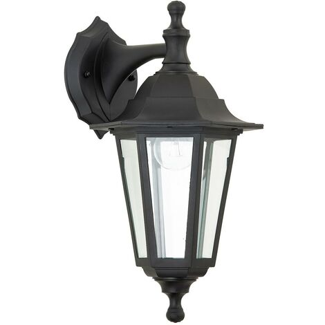 Endon Bayswater - 1 Light Outdoor Wall Lantern Clear Glass, Black Polypropylene IP44, E27