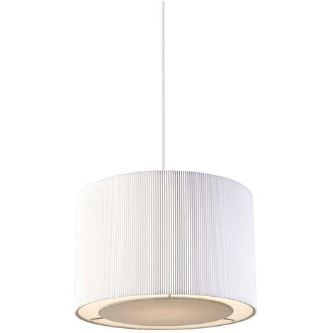 Endon Colette - Cylindrical Ceiling Pendant Light Chrome, White Tc Fabric, E27