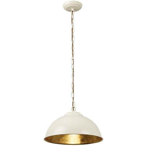 Endon Colman - 1 Light Dome Ceiling Pendant Gold Leaf, Gloss Cream Paint, E27