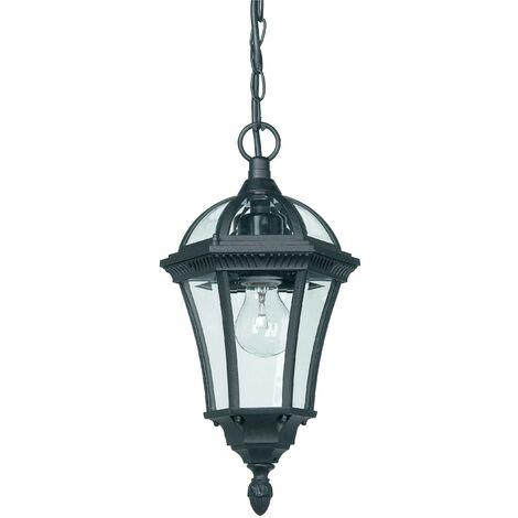 Endon Drayton - 1 Light Outdoor Ceiling Lantern Pendant Light Black IP44, E27
