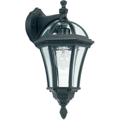 Endon Drayton - 1 Light Outdoor Wall Lantern Clear Glass, Black Paint IP44, E27