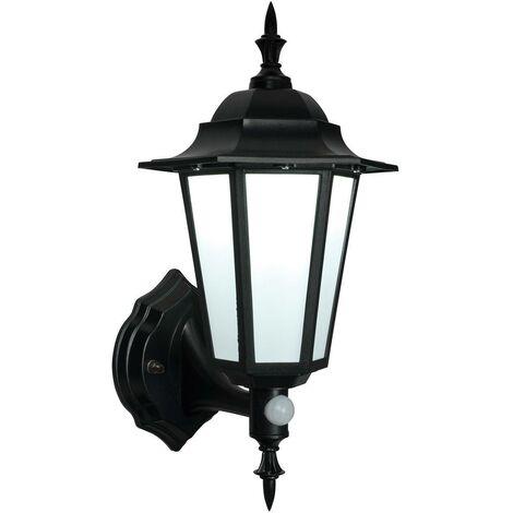 Endon Evesham Pir - PIR 1 Light Outdoor Wall Lantern Frosted Polycarbonate, Matt Black Textured IP44, E27