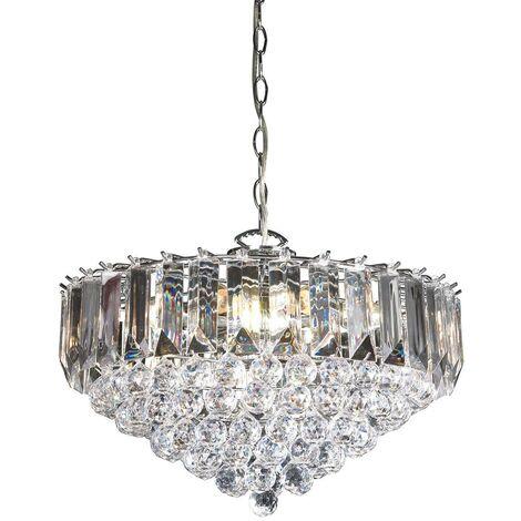 Endon Fargo - 6 Light Ceiling Pendant Chrome, Clear Acrylic, E14