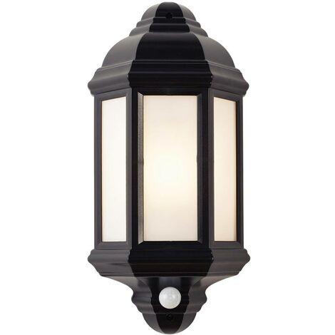 Endon Halbury Pir - PIR 1 Light Outdoor Wall Lantern Frosted Polycarbonate, Matt Black Textured IP44, E27