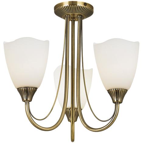 Endon Alton 2lt wall light 60W Antique brass effect plate /& matt opal glass