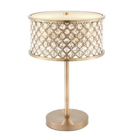 Endon Hudson - 2 Light Table Lamp Antique Brass, Crystal (K9) Drops, E14