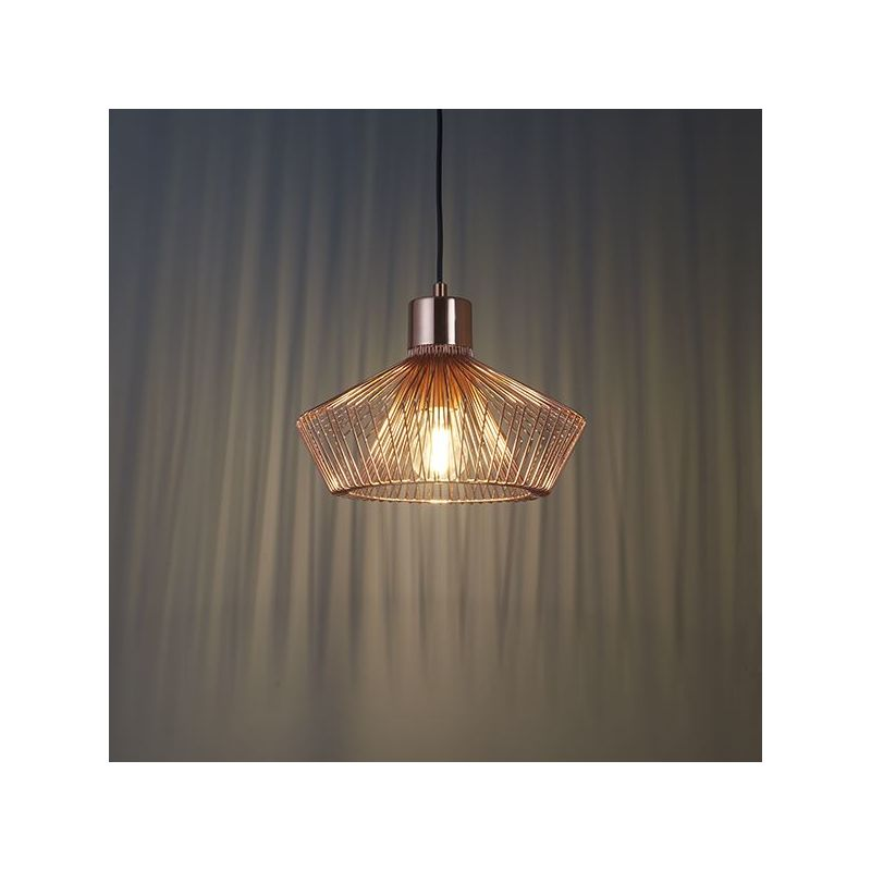 Image of 1 Light Copper Effect Plate Metal Caged Pendant Light Fitting Industrial Style