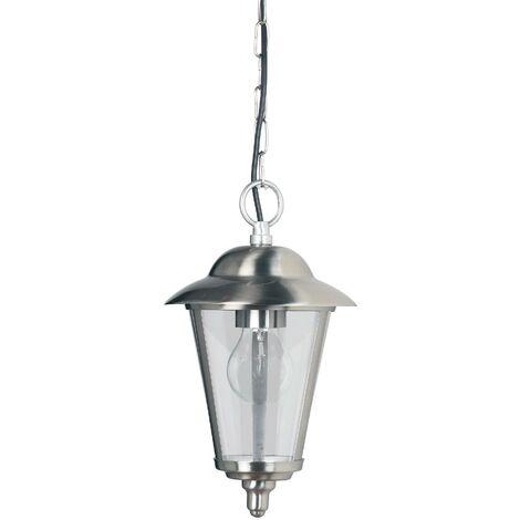 Endon Klien - 1 Light Outdoor Ceiling Pendant Light Polished Stainless Steel, Clear Polycarbonate, E27