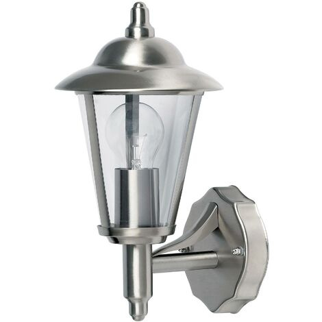Endon Klien - 1 Light Outdoor Wall Lantern Polished Stainless Steel, Clear Polycarbonate IP44, E27