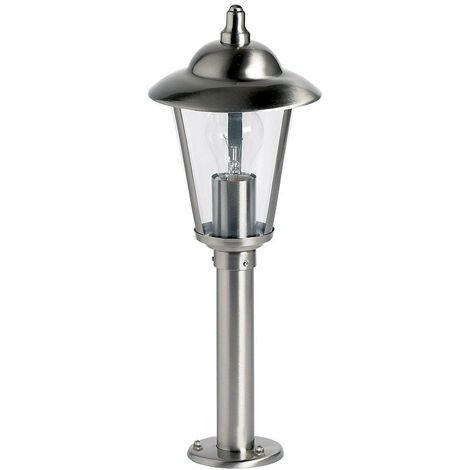 Endon Klien - Outdoor Bollard Light Polished Stainless Steel, Clear Polycarbonate IP44, E27