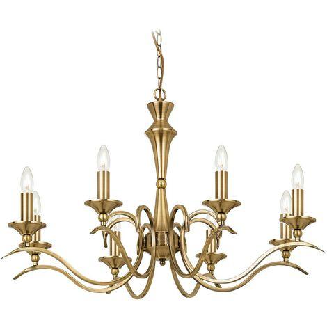 Endon Kora - 8 Light Chandelier Antique Brass Finish, E14