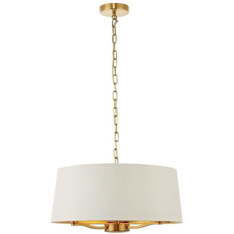 Endon Lighting - 3 Light Ceiling Pendant Satin Brushed Gold, Vintage White Silk Effect, E14