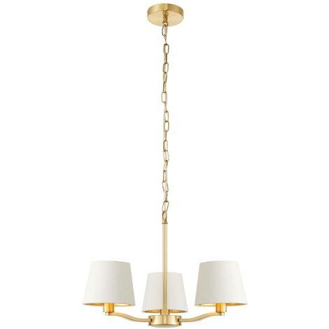Endon Lighting - 3 Light Multi Arm Ceiling Pendant Satin Brushed Gold, Vintage White Silk Effect, E14