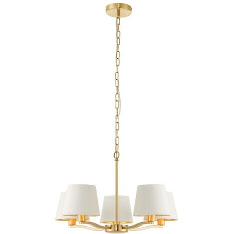 Endon Lighting - 5 Light Multi Arm Ceiling Pendant Satin Brushed Gold, Vintage White Silk Effect, E14