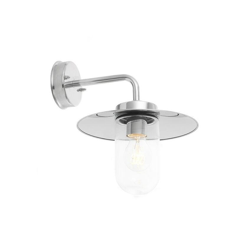 Image of Addison - Outdoor Wall Lamp Polished Stainless Steel & Clear Glass 1 Light Dimmable IP44 - E27 - Endon Lighting