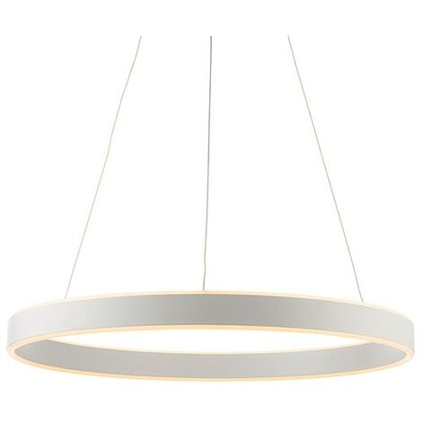 Endon Lighting Gen - Integrated LED Pendant Matt White Paint & Frosted Acrylic 1 Light Dimmable IP20