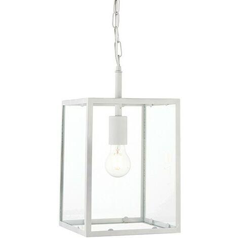 Endon Lighting Hadden - Pendant Matt Chalk White Paint & Clear Glass 1 Light Dimmable IP20 - E27