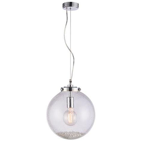 Endon Lighting Harbour 1Lt Ceiling Pendant 40W - Chrome Glass Shade