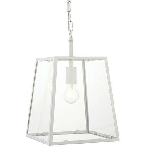 Endon Lighting Hurst - Pendant Matt Chalk White Paint & Clear Glass 1 Light Dimmable IP20 - E27