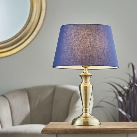 Endon Lighting Oslo & Evie - Table Lamp Antique Brass Plate & Navy Cotton 1 Light IP20 - E27