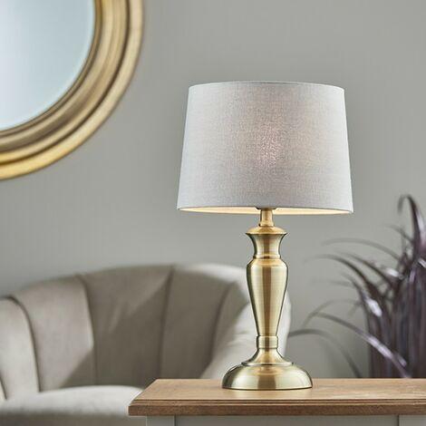 Endon Lighting Oslo & Mia - Table Lamp Antique Brass Plate & Charcoal Linen 1 Light IP20 - E27