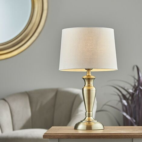 Endon Lighting Oslo & Mia - Table Lamp Antique Brass Plate & Natural Linen 1 Light IP20 - E27