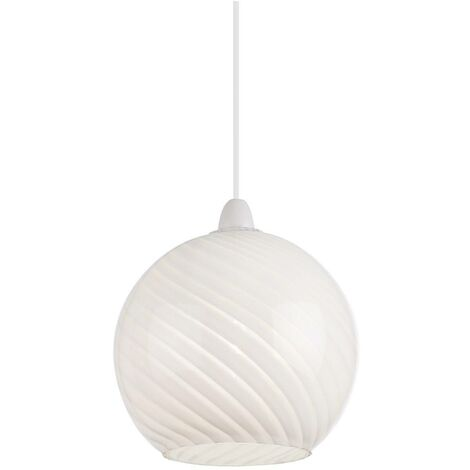 Endon Lowther - Ceiling Pendant Globe Light Patterned Gloss White Glass, E27