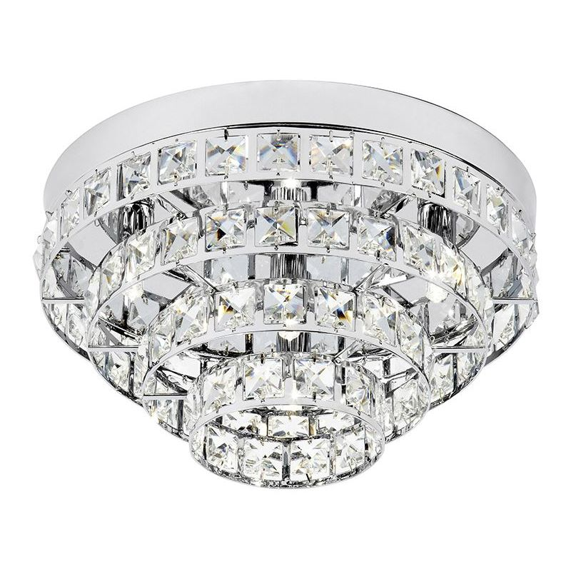 Image of 4 Light Flush Chrome Plate Living Room Decor - Stunning Chandelier