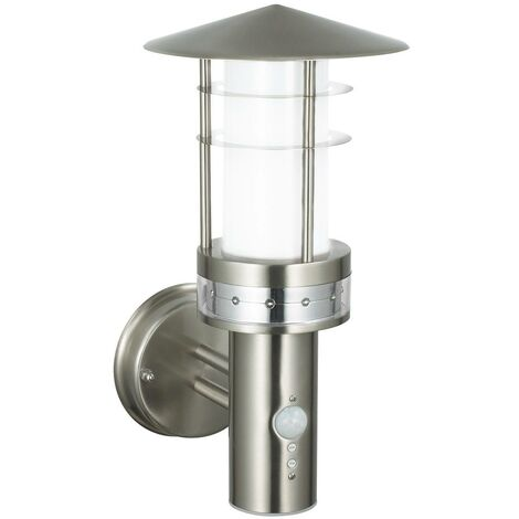 Endon Pagoda Pir - PIR 1 Light Outdoor Wall Light Brushed Stainless Steel, Frosted Polycarbonate IP44, E27