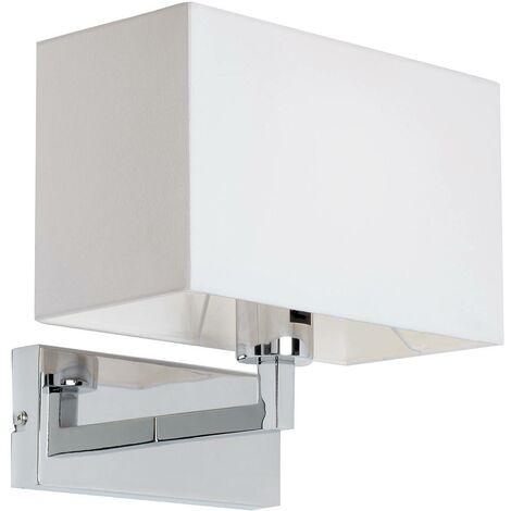 Endon Piccolo - 1 Light Indoor Wall Light Chrome, White Tc Fabric, E27