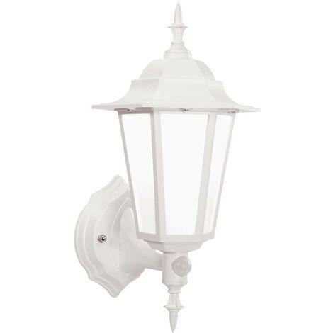 Endon - PIR 1 Light Outdoor Wall Lantern Frosted Polycarbonate, Matt White Textured IP44