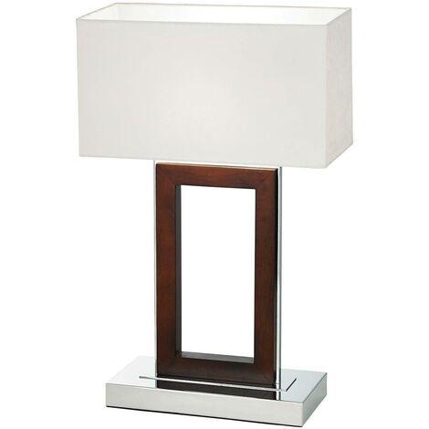 Endon Portal - Table Lamp Dark Wood, Cream Faux Suede, E27