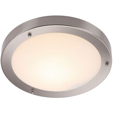 Endon Portico - Bathroom Flush Ceiling Light Frosted Glass, Satin Nickel IP44, E27